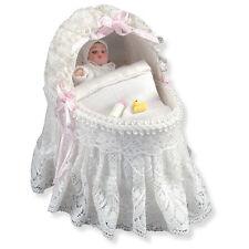 Reutter Porzellan Children Bed with Lace + baby dollhouse 1:12 Art 1.776/5
