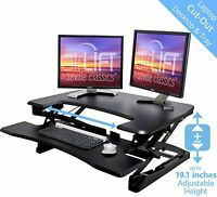 SEVILLE CLASSICS AIRLIFT HEIGHT ADJUSTABLE STANDING DESK CONVERTER / RISER