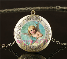 Vintage Angel Photo Cabochon Glass Brass Locket Pendant Necklace