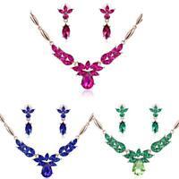 Women's Wedding Jewelry Set Rhinestone Cubic Zircon Dangle Necklace Earrings BR