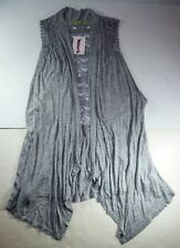*NWT* GEMSTONE WOMENS SLEEVELESS GREY CARDIGAN TOP SIZE SMALL E336