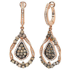 1.64 tcw 14K Rose Gold Natural Champagne White Diamond Teardrop Dangle Earrings