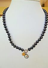 "Honora Cultured Pearl 7.0 mm NFL Steelers  Team 18"" Charm Necklace"