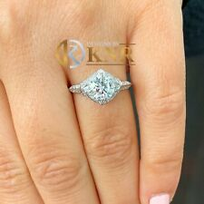 14k White Gold Round Forever One Moissanite and Diamond Engagement Ring 1.70ct