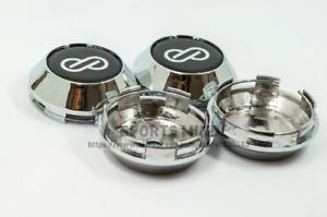 4pcs 68mm Enkei Silver Black Wheel Center Caps Rim Caps Hub Caps Emblems Badges