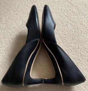 Clarks 'Ellis Opal' Black Mid Heel Stiletto Black Court Shoes Sz 5/38EU Used 1-3