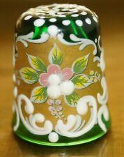 MURANO HAND PAINTED ENAMEL GREEN GLASS THIMBLE