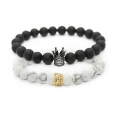 Luxury Couple His And Hers Distance Bracelets Matte Matte Beads CZ Crown Lovers