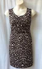 Size 16 Dress Stretch Brown Print Corporate Work Casual Holiday Dinner FREE POST