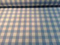 Barker & Barker Yachting Check 140cm Sky Blue Cotton Curtain Fabric