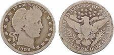 Etats Unis, USA, quarter barber, 1908 Nouvelle Orléans, New Orleans, RARE - 57