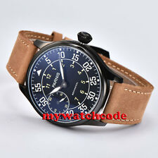44mm parnis black dial black PVD case 6497 movement hand winding mens watch P461
