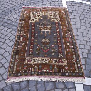 Vintage Anatolian Wool Area Rug 3x5 ft Handwoven Authentic Oriental Brown Carpet