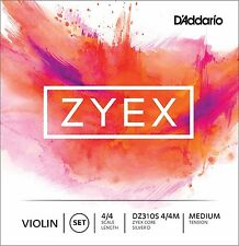 D'Addario Zyex Violin String Set 4/4 Scale Silver D Medium Tension