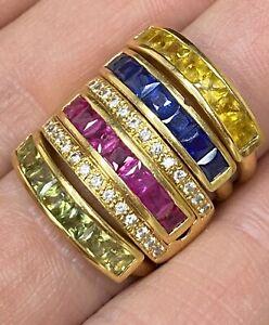 Spectacular, 18k Gold Multi Change Ring ~ Diamond, Ruby, Sapphire ~ 21.6 grams💎