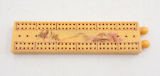 Vintage Yellow Catalin Bakelite Japanese Cribbage Board Etched Mt Fuji (E4L)