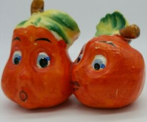 """Salt and Pepper shakers.1941.  """"conjoined Oranges"""" vintage.Japan .hand painted."""