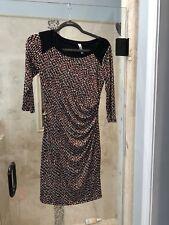 GILLI  XS S Black Orange Ruched   dress Career Cocktail Excellent