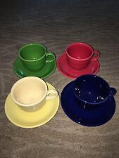 4 Colorful Fiesta Cups and Saucers (Lot A)