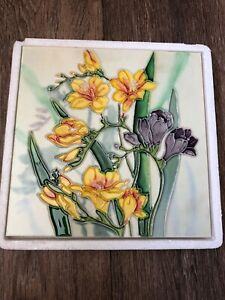 YINGHAI ART hand Crafted 20cm 3D  Tile Floral  Pretty Wall Ceramic Decor