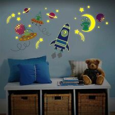 Chidrens Room Wall Sticker Glow in Dark Rocket Ship, UFO Space Ships and Aliens