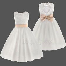 Flower Girl Princess Dress Kids Party Pageant Wedding Bridesmaid Ball Gown 6T