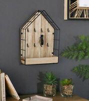 Wood & Wire House Key Storage Unit Cabinet Keys Box Wooden 8 Hooks