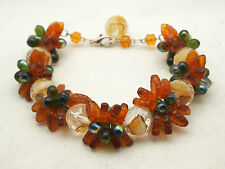 Czech Glass Beaded Garland Bracelet Amber Color Leaves / Green Beads