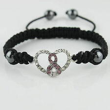Adjustable Shamballa Cord Pink Ribbon Heart Crystal Charm Bracelet w/ Heart Box