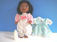 12 Inch African American Drink and Wet Doll, Dress, Bottle, Diaper, 2013 Hasbro