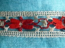 ANCIEN GALON BICOLOR ECRU ET ROUGE DE 6 METRES DE LONG TBE