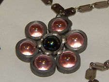 Steampunk, Biker, Brutalist Huge Pewter Bearing Pendant with Movable Glass Beads