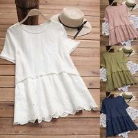 Women's Summer Short Sleeve Solid Loose T-Shirt Dress Cotton Linen Casual Beach