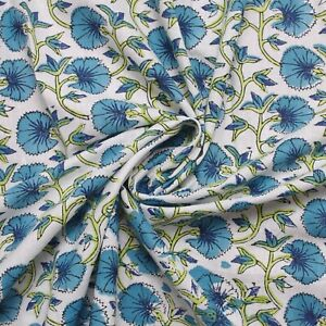 Indian Hand Block Print White Floral 100% Cotton Women Dress Fabric Cloth Craft