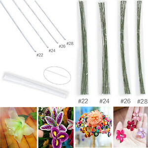 50pc Floristry Cake Wire Sugarcraft WHITE/GREEN SIZES 22-28 Sugar Flowers Crafts