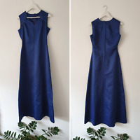 Vintage 70s Handmade Satin Navy Maxi Floor-Length A-Line Dress S Evening Gown
