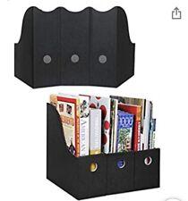 Magazine File Holders Black Sturdy Cardboard 3 Pack Limited Time Ships Folded