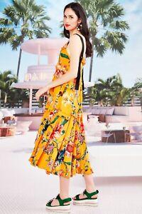 TRELISE COOPER L pleat wave dress midi mango floral silk sleeveless adjustable