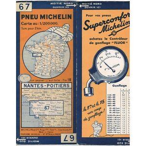 CARTE Michelin N°67 NANTES-POITIERS Chinon Les Sables-d'Olonne St-Nazaire 1934