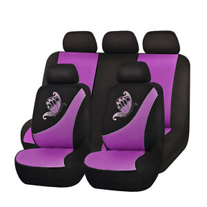 Butterfly Car Seat Covers Set Universal Embroidery Breathable Purple Black Women