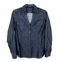 Express Women's Chambray Button Up Long Sleeve Shirt Dark Blue Size Medium