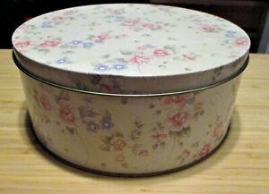"Pfaltzgraff Tea Rose Preowned 9-7/8 x 4"" Round Storage Tin ~ Oggi Corp. China"