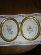 """Vintage Home Interiors (2) Bird & Flower Pictures in Gold Oval Frames 11'' X 9"""""""