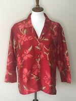 Chico's Red Floral 100% Silk Button Down Jacket Size 1 Women's Long Sleeve