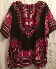Plus Sz 4X TUNIC Caftan Cover-up Mini Dress LIGHTWEIGHT Cruise BOHO Pockets