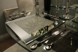 New Set Of Four Mirrored Placemats With Swarovski Crystals Dining Dinner Table