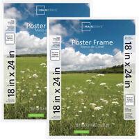 "Picture Frame 2-Pack Black 18/"" x 24/"" Basic Poster Styrene Front Plastic Extruded"