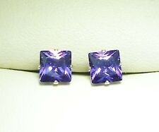 SILVER STUD EARRING AMETHYST 5mm PRINCESS SQUARE LAB-CREATED STONE sk873