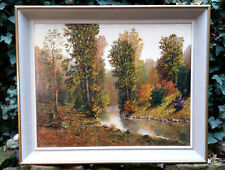un impressionniste: Paysage de la forêt. Peinture à l'huile sign. Miroslav