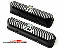 Brand New Ford FE 390 Deep Laser Engraved & Color Filled Black Valve Covers
